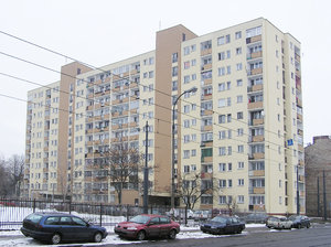 Flats: A block of flats in Warsaw, Praga district.