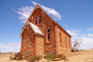 Siverton Church: One of the most painted icons in the Broken Hill / Silverton area. New South Wales (only just), outback Australia,.