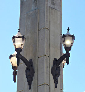 historic bridge lights: Victorian era street lights on  traffic bridge