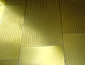 studded surface: embossed - studded - metal sheet surfacing