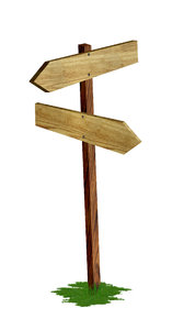 wood signpost: Put the text on the arrows.
