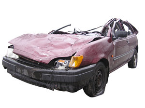 Car wreck: A wreck of a car.