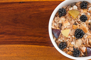 Breakfast cereal: Fruit muesli in a bowl.