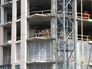 under construction: several shots of a condo/hotel tower under construction in downtown minneapolis.