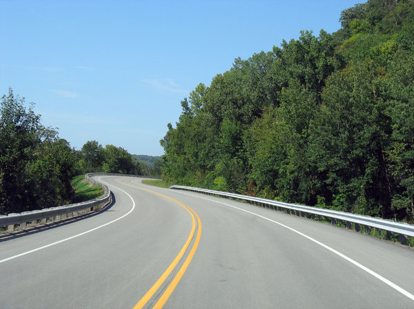 open road: the open road, on the banks of the mississippi river in wisconsin.