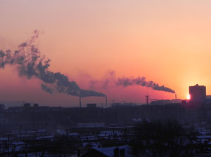pollution at sunset: Datong, China