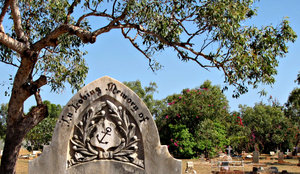 sailor's memorial: headstones from sailors' grave in rural coast cemetery
