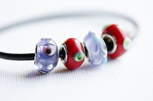 Beads and bracelet: glass beads and bracelet