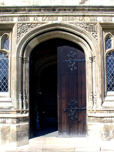 doorway to heaven: open chapel doorway in cambridge