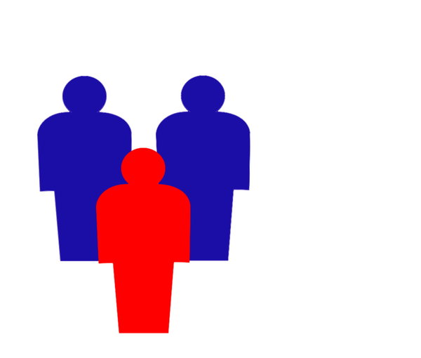 Three Men: Two blue men and one red man. Can represent leadership, standing out from the crowd, individualism, etc. You may prefer:  http://www.rgbstock.com/photo/ozHet0M/Census  or:  http://www.rgbstock.com/photo/mYuoCPK/Two+Men