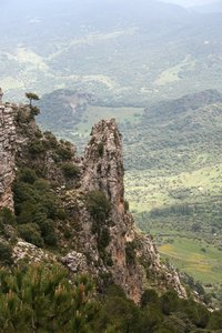 Rock pinnacle: A rock pinnacle in the mountains of Andalucia, Spain.