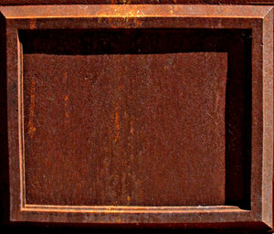 empty rusty frame: empty rusty plate and frame from old neglected memorial monument