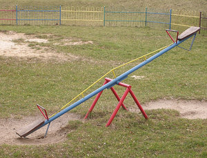 Seesaw: A swin on a playground.