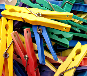 we've got you pegged4: coloured plastic clothes pegs