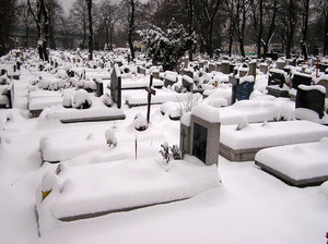 Cemetery in winter: A cemetery in winter, Poland.