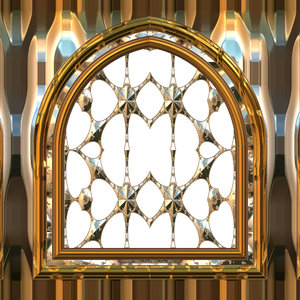 Gothic Window Gold: A 3D fantasy golden gothic styled window. Can be ...