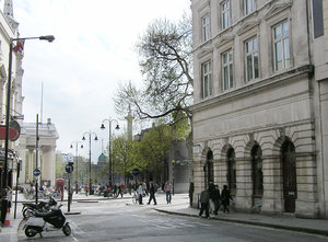 London street: A London street. This is St Martin's Lane. Ahead is Trafalgar Square.
