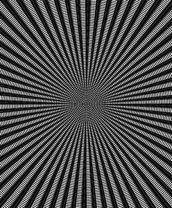 black & white motion target: target image radiating out