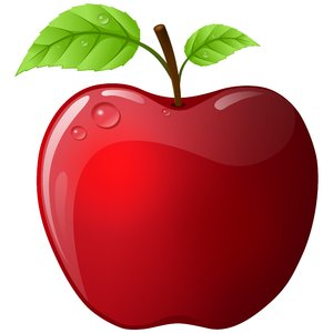 Vector Apple: Red vector apple with two leaves on the white background