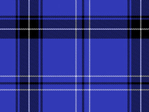 Tartan or Plaid 2: A tartan or plaid pattern in the following colours: blue, white, black.