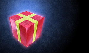 Gift: A red box with yellow or gold ribbon against a textured dark blue and black background. Could be a Christmas, birthday, anniversary, wedding, Valentines day or any other special event gift. Lots of copyspace.