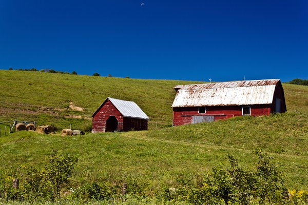 Red Green Blue: Barn and shed on hillside