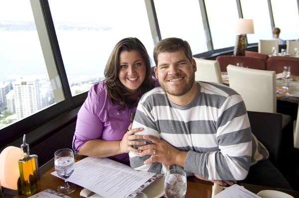 Anniversary: My wife and I at the top of the Space Needle.