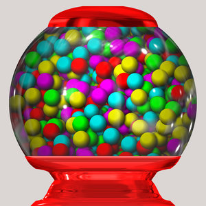 Bubblegum Machine: A graphic of a bubblegum or gumball machine. Bright eyecatching colours.