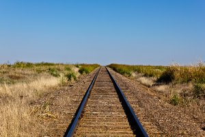 Prairie Rails: Tracks through endless prairie, Western Oklahoma.