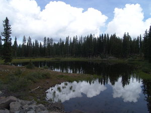 Reflections of Mountain Lake: Grand Mesa Lake, Colorado is at a high elevation and with clear water and no wind gave this photo a wonderful reflection of the sky above.  Photo taken second week in Sept 2011.