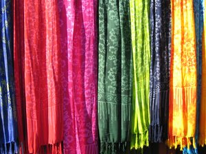 colourful batik shawls
