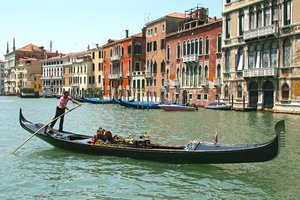 Gondola: A gondola on the Grand Canal, Venice.