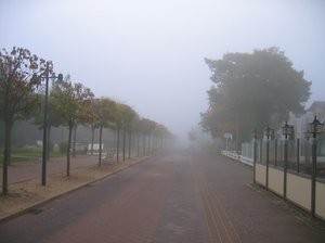 street in morning mist