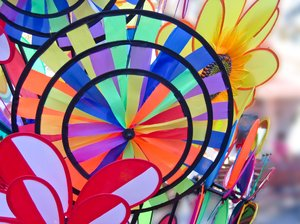 colorful windmills