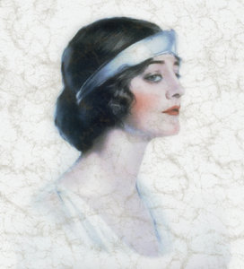Vintage Woman: A 1920s vintage public domain image of a woman, edited and with a crazed, crackled or marbelled effect.
