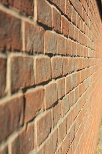 Brick perspective: Bricks in a wall in an exaggerated perspective