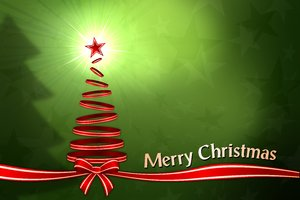 Christmas Background: Christmas background with Christmas Tree and ribbons