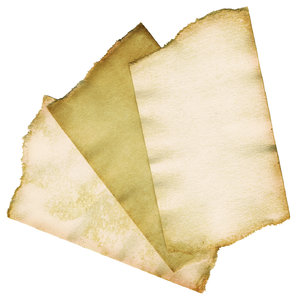 Paper Scraps: Three small pieces of torn paper.