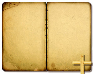 Open Bible 2: Variations on a vintage open Bible collage with a leaf and a Christian cross.