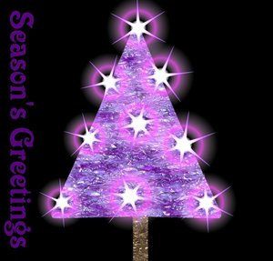 Tree with Stars: Magical lights around an abstract textured xmas tree in shades of pink and purple, against a black background.