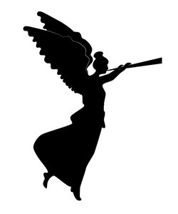Silhouette Christmas Angel: a classic silhouetted angel blowing it's trumpet