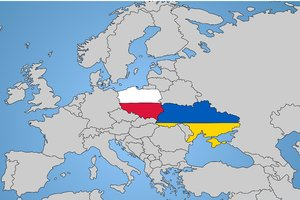 Euro2012 - Map: Map of Europe with specified Polish and Ukraine