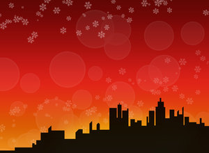 Winter skyline background 3 - : A city skyline in a winter/christmas theme.