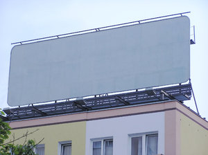 A billboard on a roof
