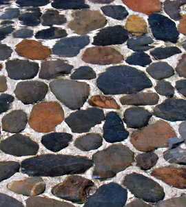 pebble pool: abstract image of underwater pebbles in flowing water pool