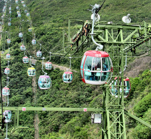 high 2nd ride5: high scenic cable car ride in Hong Kong park