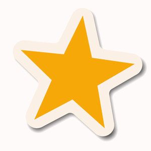 Star Sticker 1: A yellow pastel star sticker with a white border ...