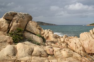 Pink rock coastline: Coastline of the Maddalena islands, Sardinia.