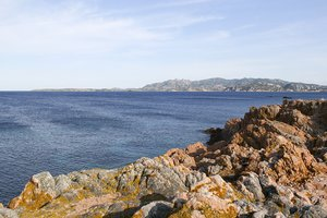 Blue sea, rocky coast: Rocky coastline in the Maddalena Islands, Sardinia.
