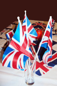 Union Flag table decorations: Union flag table decorations